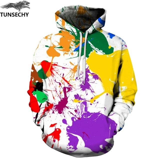 TUNSECHY Spring Autumn Hooded Hoodies Men/women 3D Sweatshirts With Cap Print Wizard Clown Oil Printing Hoody Hoodies
