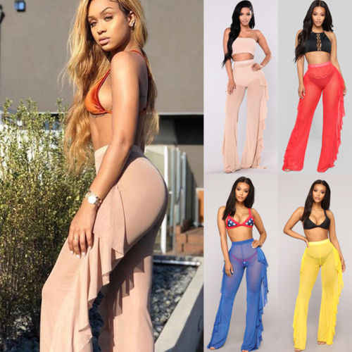 83366e5b473 Detail Feedback Questions about ITFABS New Sexy Bikini Cover Up Women Mesh  Ruffle Sheer See Through Wide Leg Pant Beach Cover Up Sunproof Bathing Suit  ...