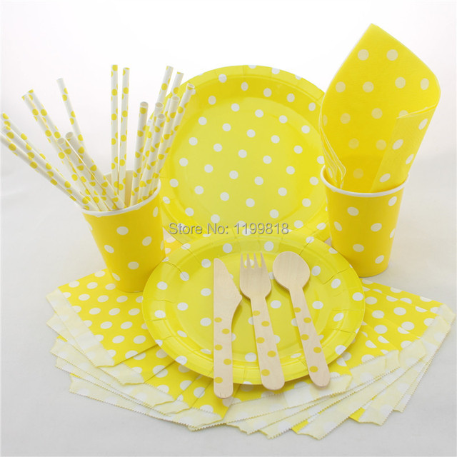 Polka Dot Paper Plates Cups Straws Bags Napkins Wooden Fork Spoon Knife 100 Sets Disposable Tableware  sc 1 st  AliExpress.com & Polka Dot Paper Plates Cups Straws Bags Napkins Wooden Fork Spoon ...