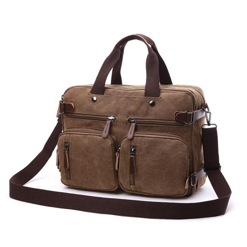 Sac à dos d'affaires pour hommes vintage en cuir toile sac à dos sac d'école sacs de voyage pour hommes sac à dos de voyage pour ordinateur portable grande capacité - 4