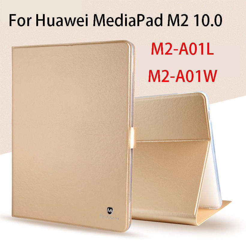 Luxury Silicone PU Leather Case For Huawei MediaPad M2 10 M2-A01W M2-A01L M2 10.0 10.1 Case Cover Funda Tablet Slim Flip Shell magnet flip cover for huawei mediapad m2 10 1 m2 a01w a01w tablet case pu leather case with hand holder and card slot