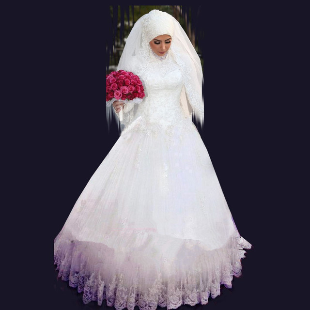 Muslim Wedding Dresses 2017 Ball Gown High Neck Long Sleeves Lace Beaded Arabic Hijab