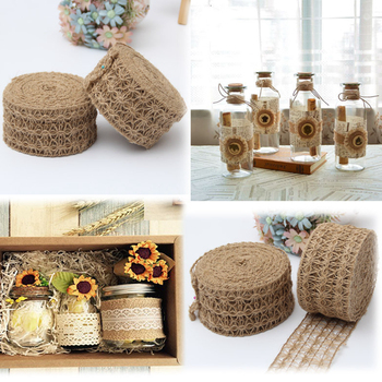 2m/Roll Wide 7cm Hollow Design Natural Hessian Jute Twine Burlap Ribbon Christmas Home DIY Decoration Rustic Wedding Decor 10m lot 15mm 38mm jute burlap ribbons diy handmade crafts hessian twine rope cords rustic wedding birthday party decoration