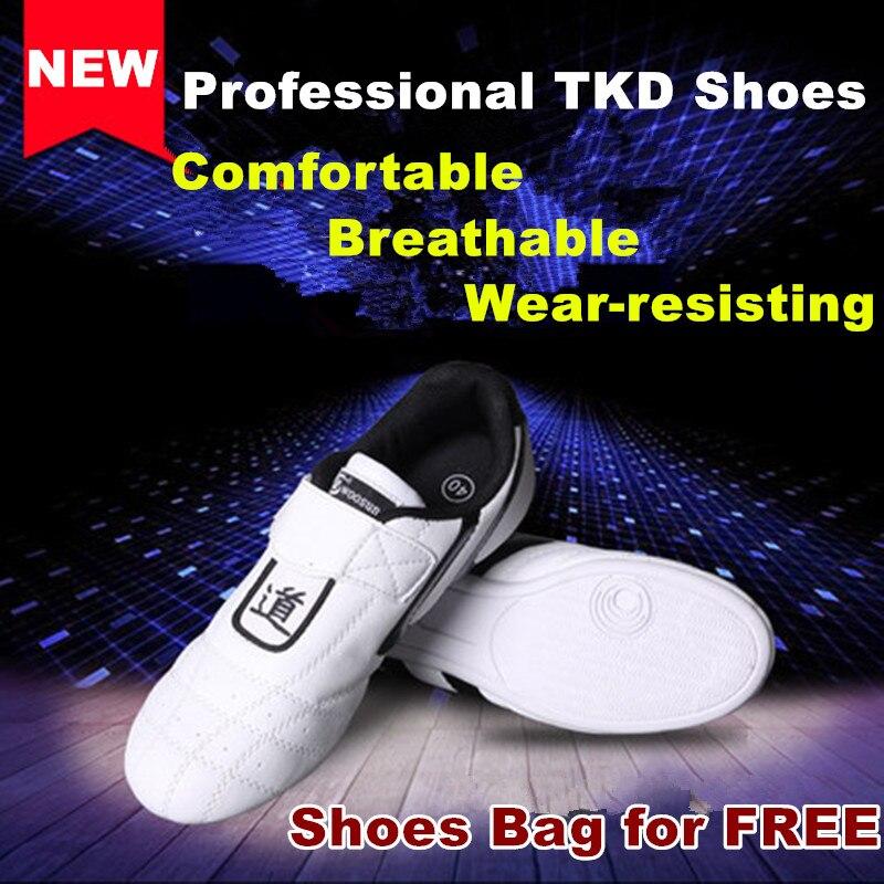 Chaussures de Taekwondo blanches de haute qualité pour enfants adultes semelles en caoutchouc antidérapantes respirantes chaussures de karaté wing chun tai chi
