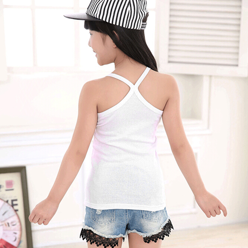 Fashion Cotton Solid Kids Tank Tops Girls Tee Sling Slim Camisole Girl Tank Tops Baby Girl Clothing 2018 Candy Color Girls Shirt