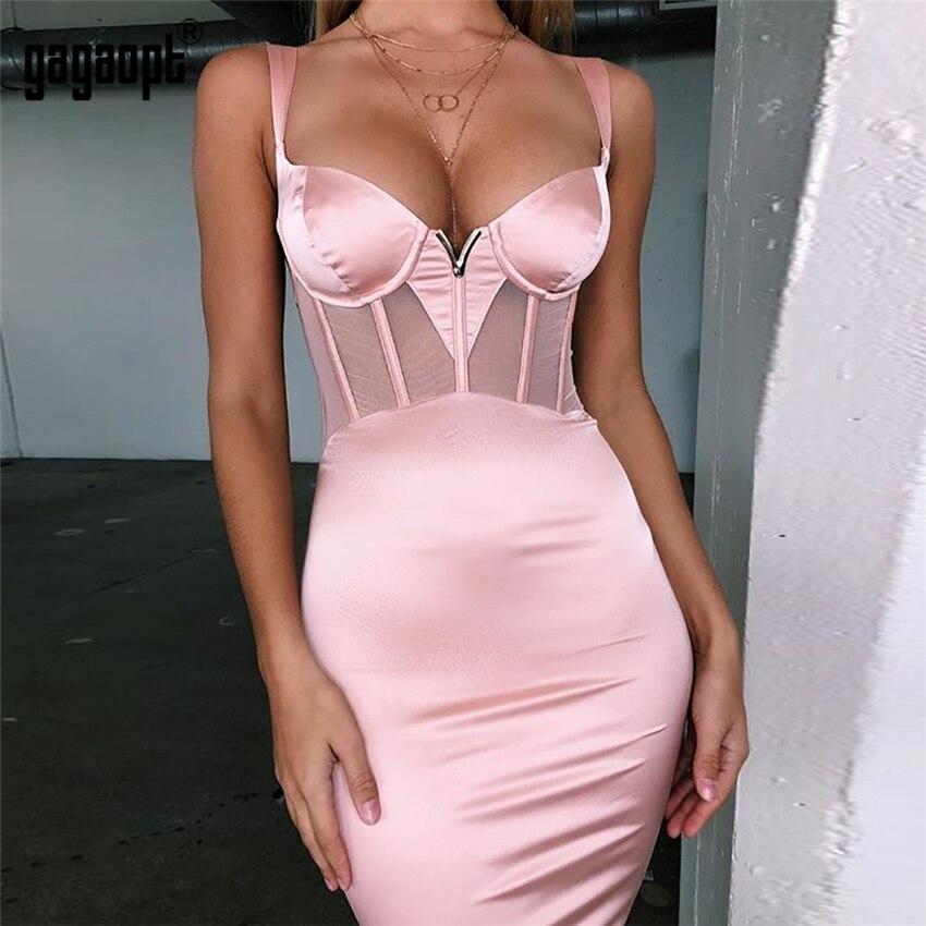 Gagaopt New 2 Colors Bodycon Dresses Women Mesh Patchwork Satin Party Dresses Sexy Ladies Elegant Club Dresses Vestdios Robes