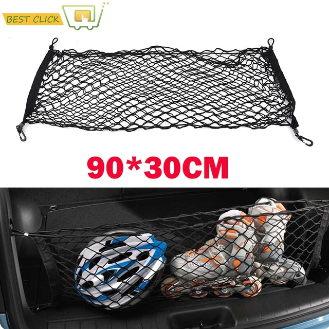 90*30cm Rear Trunk Envelope Cargo Net Boot Storage Organizer Mesh + 4 Hooks Fit For Mitsubishi Outlander Sport RVR Asx Pajero