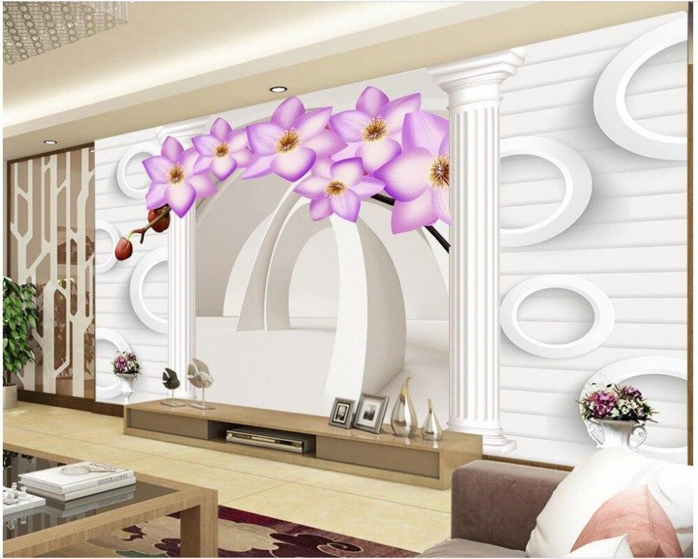 3894b8a80 Expansão do Espaço 3D estereoscópico flor romântica videira Decoração de  Casa personalizado papel de parede para paredes