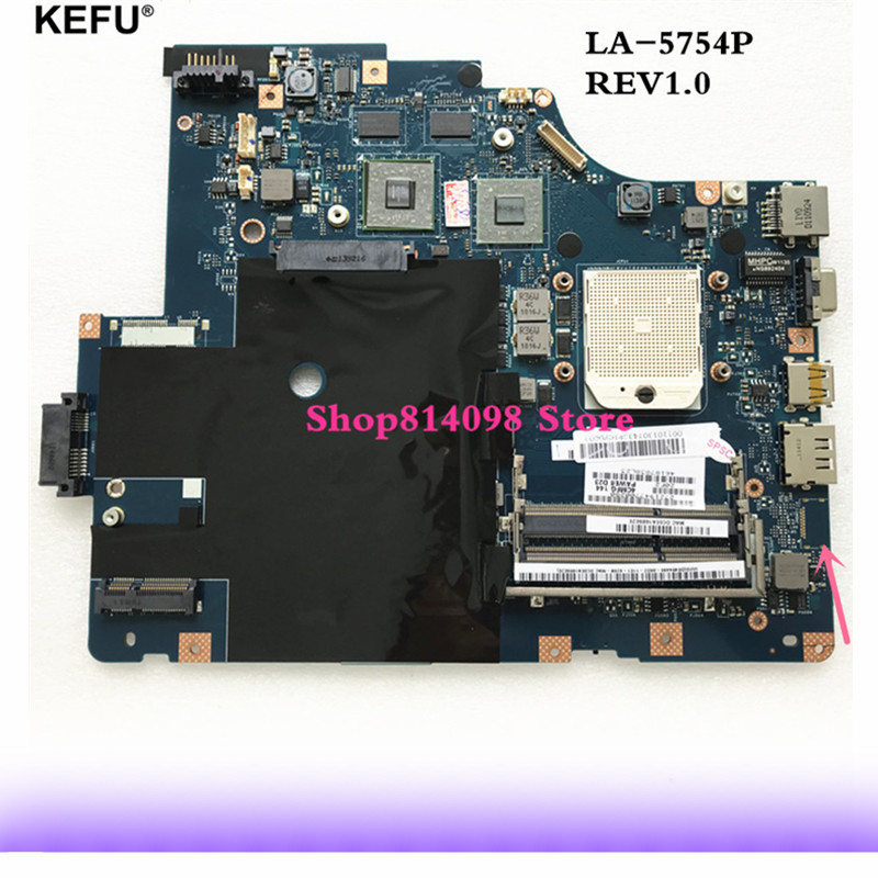 KEFU For Lenovo G565 Z565 Laptop motherboard LA-5754P with Video card Good working sheli laptop motherboard for lenovo g565 z565 la 5754p no hd interface with 4 video chips non integrated graphics card rev 2 0