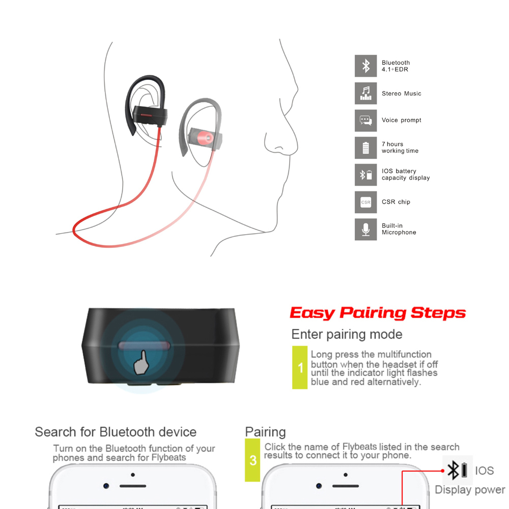 Tritina Wireless Noise Cancelling Sport Earphones