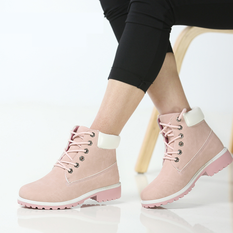 Fashion Martin Boots Women Boots Ankle Snow Boots Leather Winter Boot Warm Fur Round Toe Female Shoes Lace-Up Casual Shoes Woman fashion women winter snow boots warm suede platform round toe ankle boots for women martin boots shoes