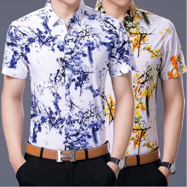 Mens Cotton Tropical Short Sleeve Floral Print Beach Casual Aloha Hawaiian Shirt