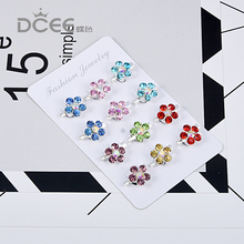 DCEE 12pcs/lot Brooch pins for women wedding party casual dress small colorful crystal brooches ladies brooches hijab pins