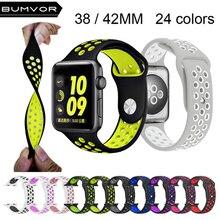цена на Brand Silicon Sports Band Strap for Apple Watch 38/42mm 1:1 Original Black/Volt Black/Gray Silver iwatch watchbands FOHUAS