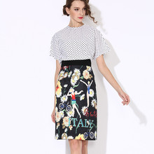 2016 Top Fashion Women Summer Elegant Polka Dot Twin Sets Short Sleeve Blouse+Slim Skirt Ruway Printed 2 Pieces Set Suits