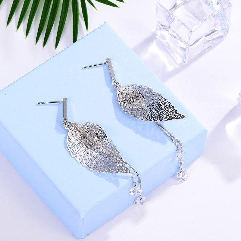 Fashion Women Earrings Leaf Shape Long Dangle Earrings 925 Sterling Silver Long Earring Fashion Jewelry N38 in Drop Earrings from Jewelry Accessories