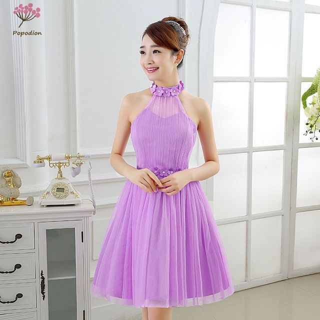 Popodion Summer Violet Flowers Bridesmaid Dresses For Wedding Guests