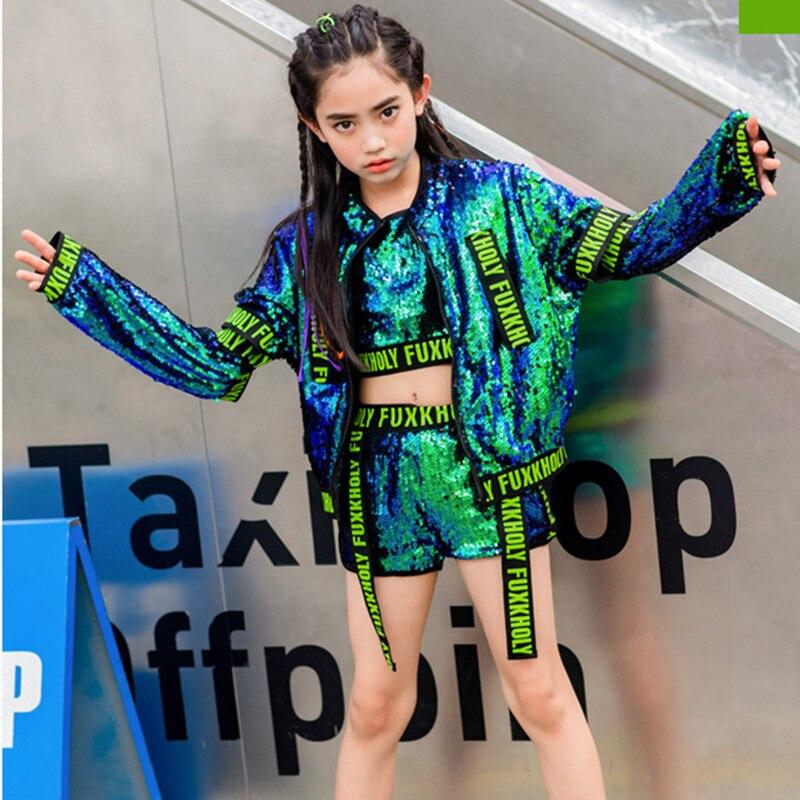 Green Silver Sequin Jacket Vest Short Pants Hip Hop Dance Costume Kids Girl Boy Jazz Street Dance Clothes Children Stage Outfit