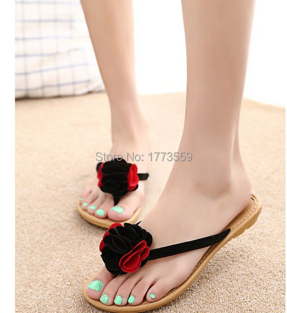ff2548fa78d71e 2015 Sandals.Fashion Lady Girls Summer Flat Shoes Sweaty Womens Flats Designer  Sandals multicolor With Flower on Head