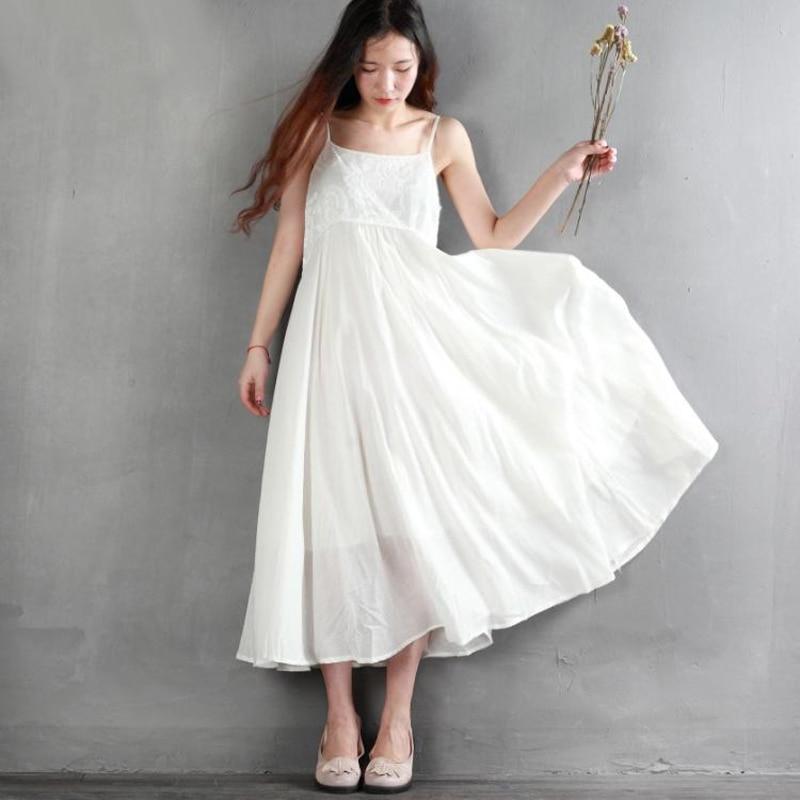 Robe d'été couleur unie coton lin femmes robe décontracté lâche Maxi robe broderie Spaghetti sangle taille haute longue robe