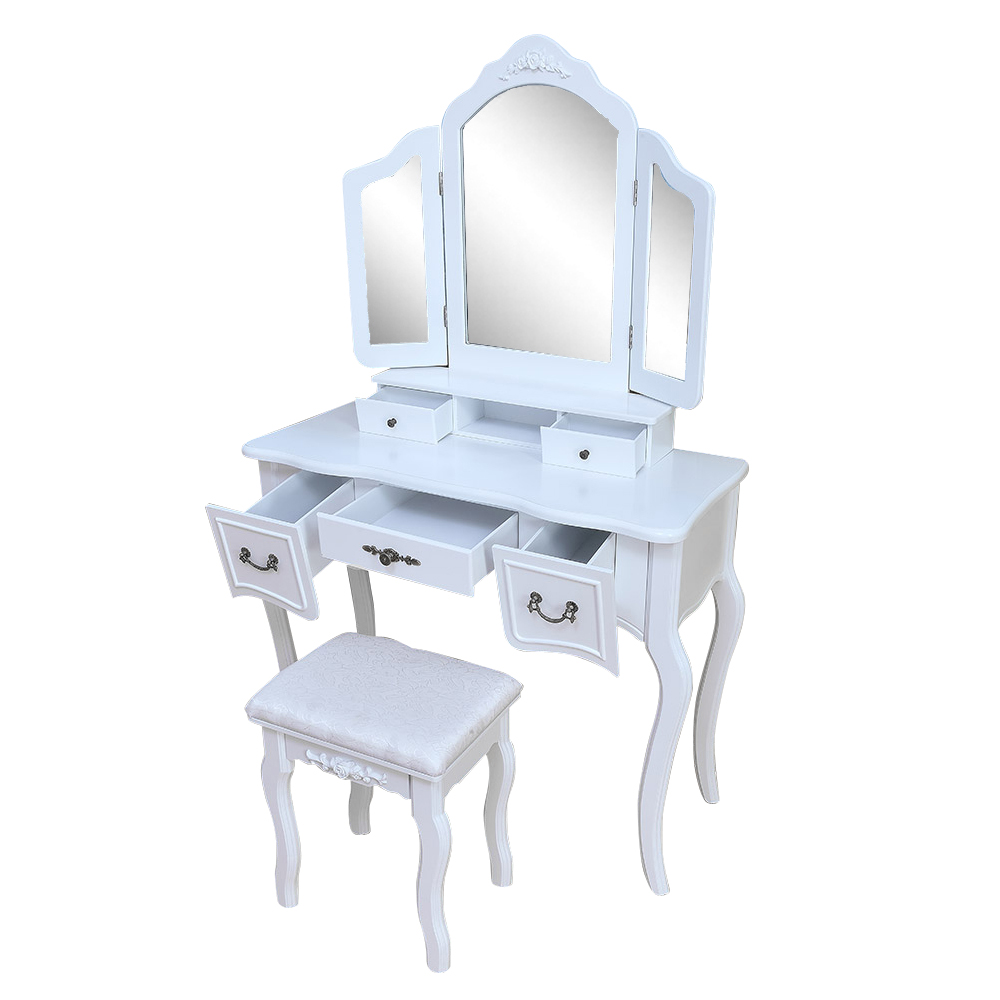 White Tri Folding Mirror Vanity Set 5 Drawers Dressing