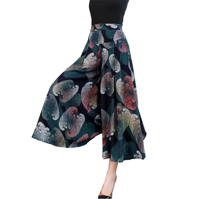 Fanmuer 2019 Summer   pants   women casual loose Elastic Waist vintage   pant   print trousers women   wide     leg     pants