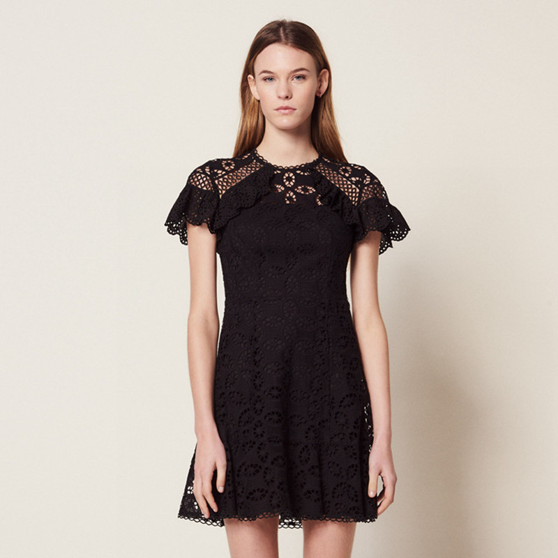 2019 New Women Black Mini Dress Short Sleeve Hollow Out Slim Dress