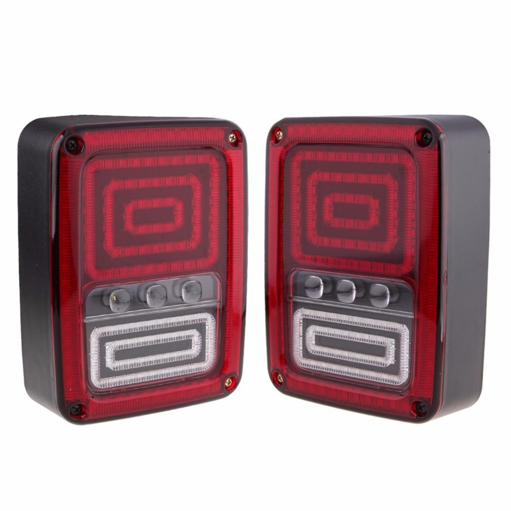 2pcs12V LED Tail Light LED Reverse Backup Tail lamp for Jeep Wrangler JK 2007-2015 4x4 4WD for jeep wrangler jk 2007 2016 tail light diamond smoke led tail light