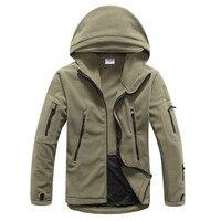 Military Tactical soft shell hooded Jacket Autumn men fleece coat winter New mens Multi pocket zipper Warm Polar Army outerwear