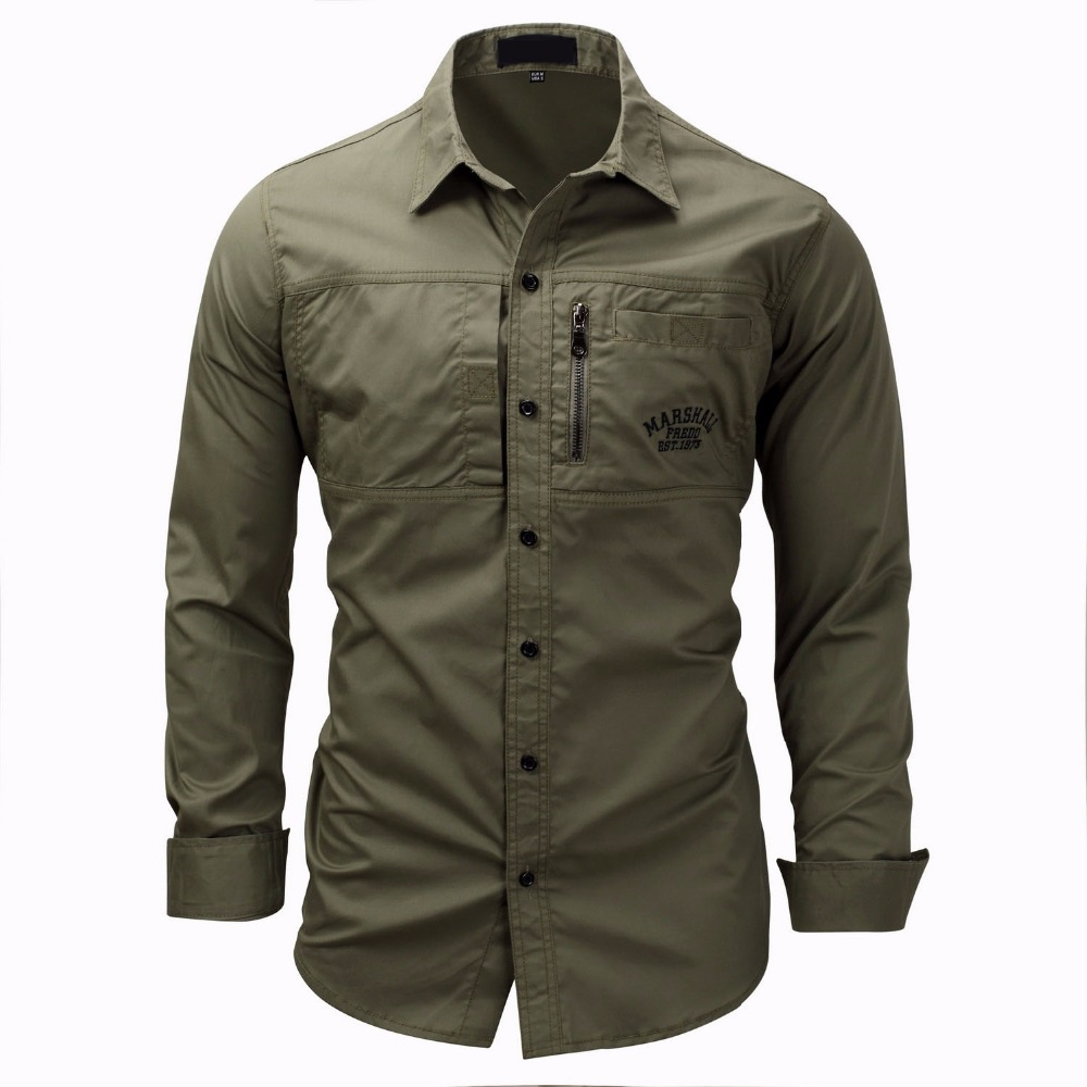 High Quality 2018 Military Summer Men Shirts Office Fashion Casual Cotton Slim Fit Mens Track Suit Plus Size Shirt Blouse tOP