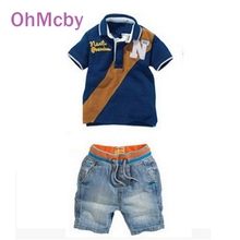 OhMcby Children Clothing Set Summer Casual Boys Jeans Shorts Sets Boys Girls Patchwork Short Sleeve T Shirt and Denim Pant Suit