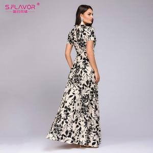 Image 2 - S.FLAVOR Women Long Dress Short Sleeve Floral Print Boho Dress Elegant Party Dress Slim Maxi vestido de festa
