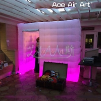 Customized led easter festival inflatable photo booth enclosure,photo cabinet event party cube foto tent with lights for wedding