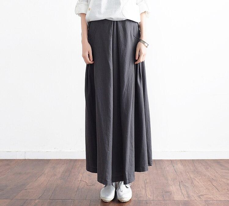 gray Grande Robe Noir Femme Élégante Couleur Nouvelle dark Saia Haute Black Longue Blue Taille Maxi Plissée Dames Faldas Robes Jupes Jupe Unie T66Xqw1