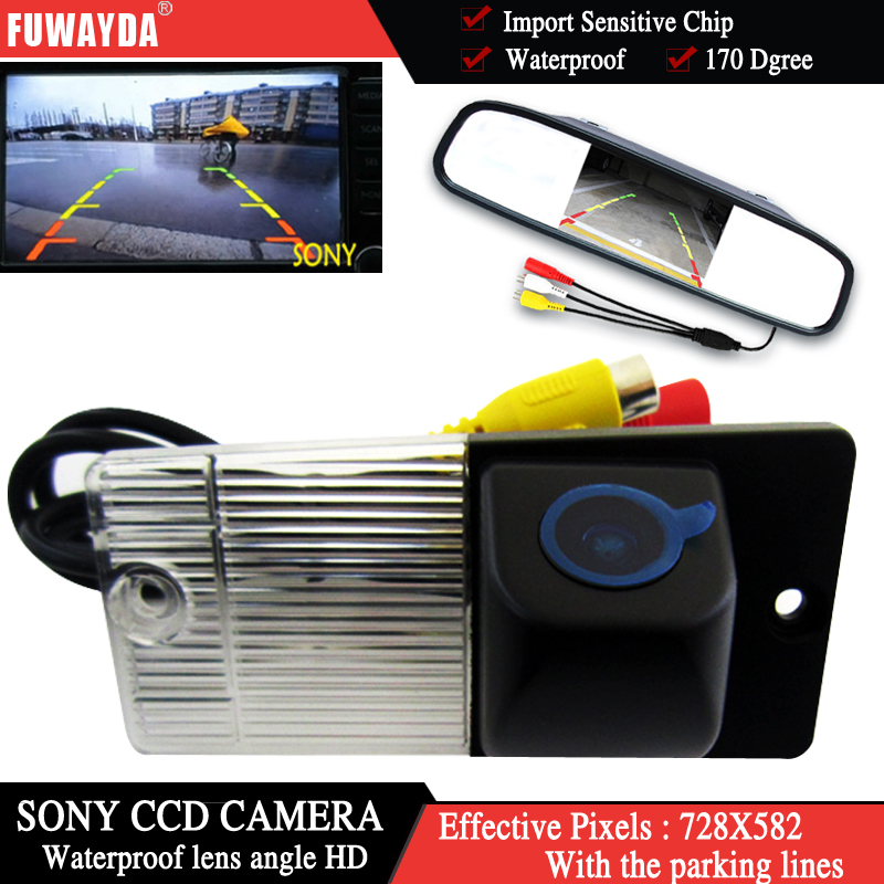 FUWAYDA Color SONY CCD Chip Car Rear View Camera <font><b>for</b></font> <font><b>KIA</b></font> SORENTO SPORTAGE + 4.3 Inch rearview Mirror <font><b>Monitor</b></font> WATERPROOF HD