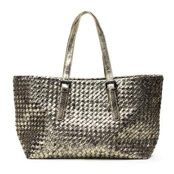 Women's Handbags PU Leather Shoulder Bag Hand-woven Female Bag 2018 Shoulder Travel Shopping Basket Bag Bolsa Feminina
