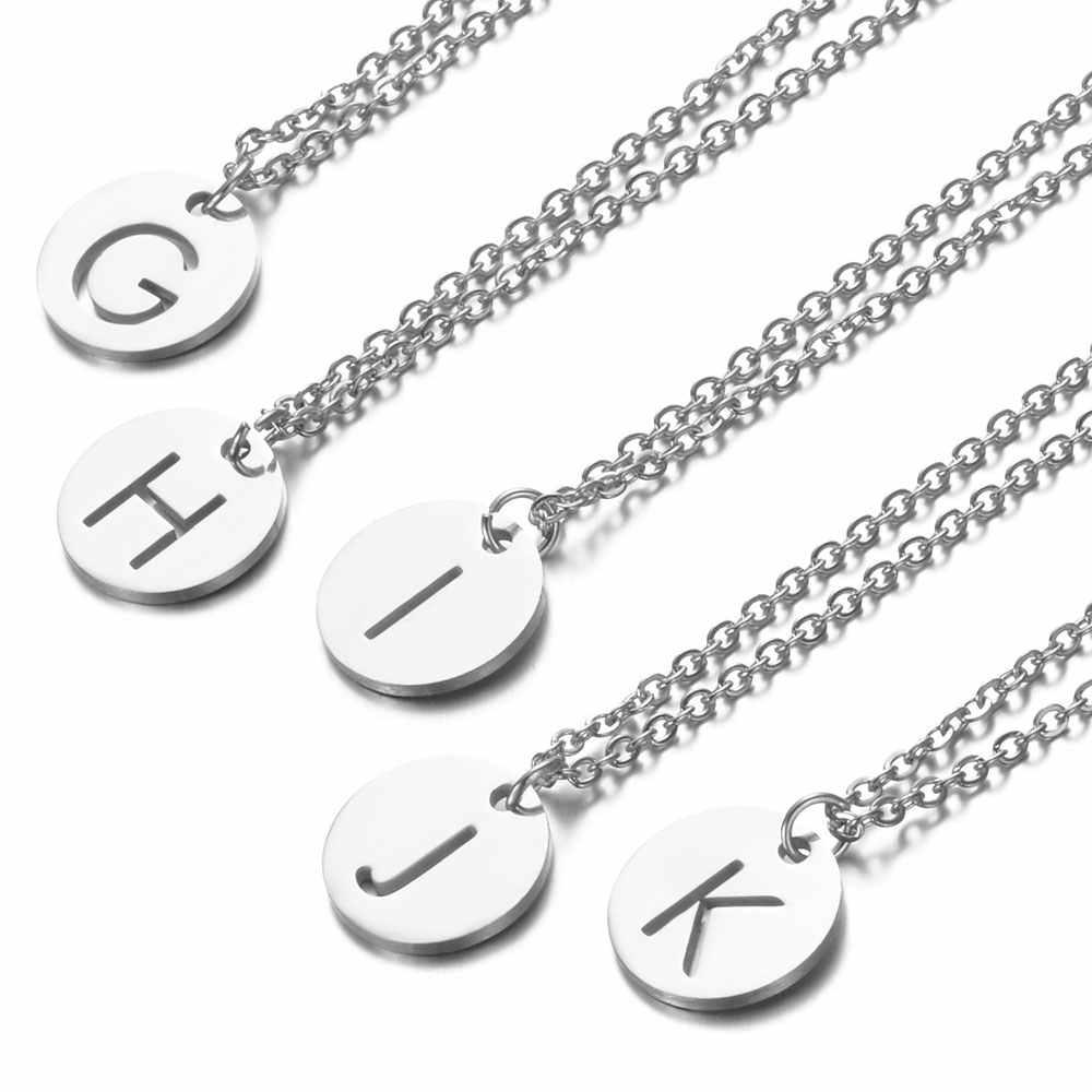 A-Z 26 Initialen Naam Ketting 12 Mm Ronde Hanger Letter Alfabetten Ketting 316L Rvs Femme Choker Gift Voor Vrouwen