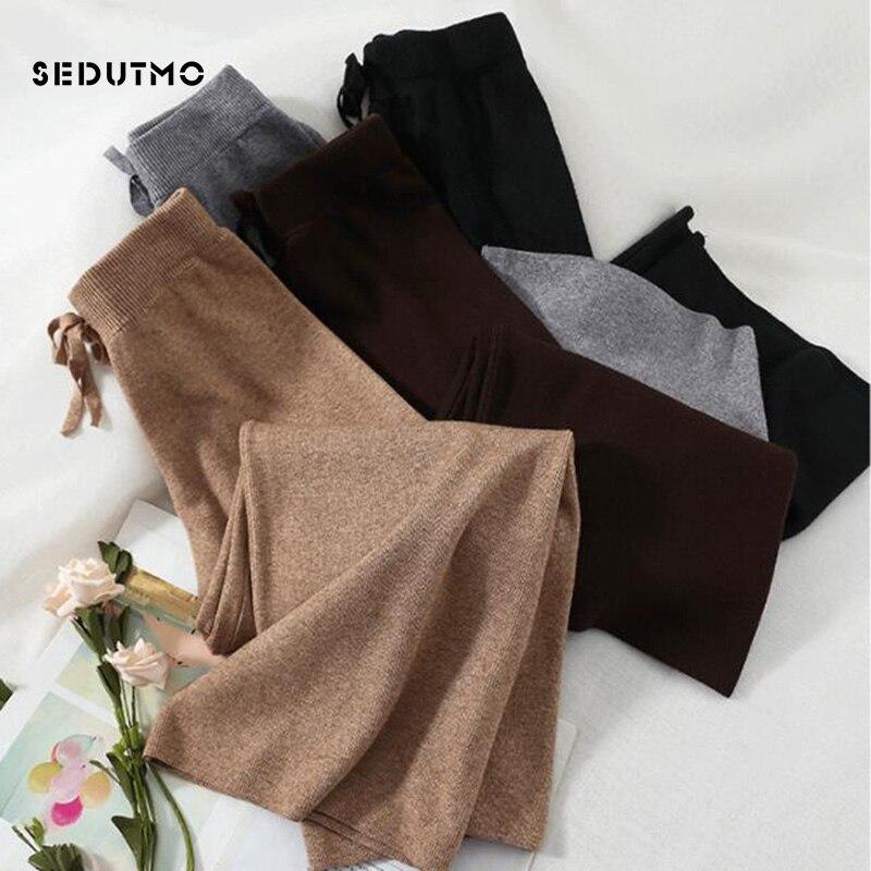 SEDUTMO Winter High Waist   Pants   Women   Wide     Leg     Pant   Loose Trousers Knitting Vintage Casual Streetwear Black Sweatpants ED574