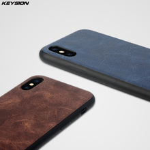KEYSION Leather Back with Silicone Edge Case for Apple iPhone X