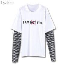 Женская весенне-осенняя футболка Lychee с буквенным принтом, сетчатая Лоскутная Повседневная Свободная футболка