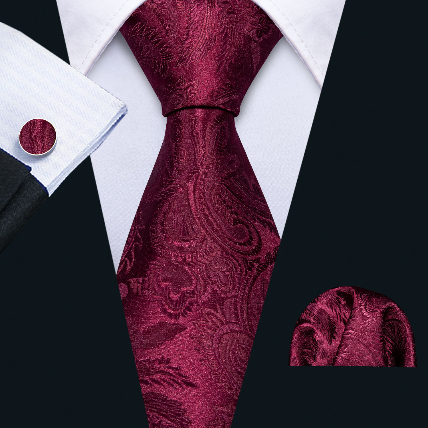 2019 Men Wedding Tie Red Foral Silk Tie Hanky Set Barry.Wang 8.5cm Fashion Designer NeckTies For Men Party Dropshipping FA-5144