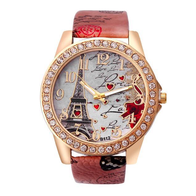 Reloj de pulsera informal de mujer de cuarzo de la Torre Eiffel de París