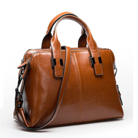Retro Shoulder genuine leather bags for women 100% Cow Real bag ladies Handbag Women Genuine leather Oil wax Red Brown Pink 2018