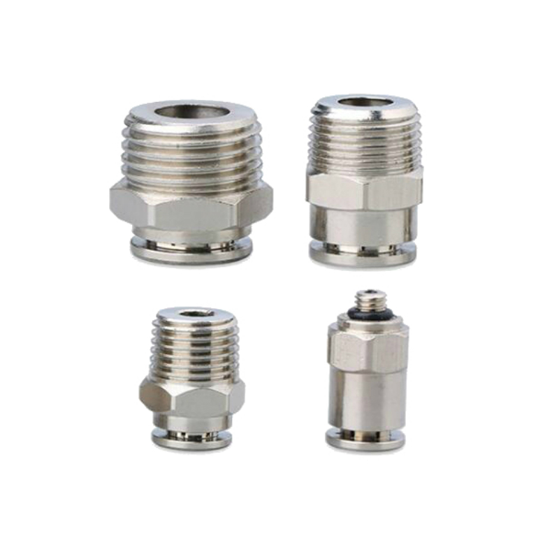 цена на Brass Nickel Plated Pneumatic Air Push In Quick Fitting Male Connector 4 mm 6mm 8mm 10mm 12mm OD * M5 1/8 1/4 3/8 1/2 BSP