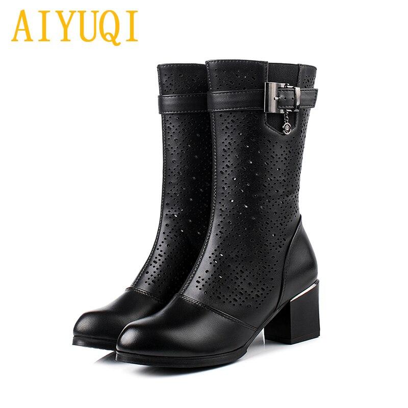 Taille Black 42 Chaussures claret Talons Véritable 41 Cuir Femmes D'été MailleÀ Printemps Grande 2019 Mode Bottes Nouveau Aiyuqi Femelle En Hauts 43 De lJ1TFKc3