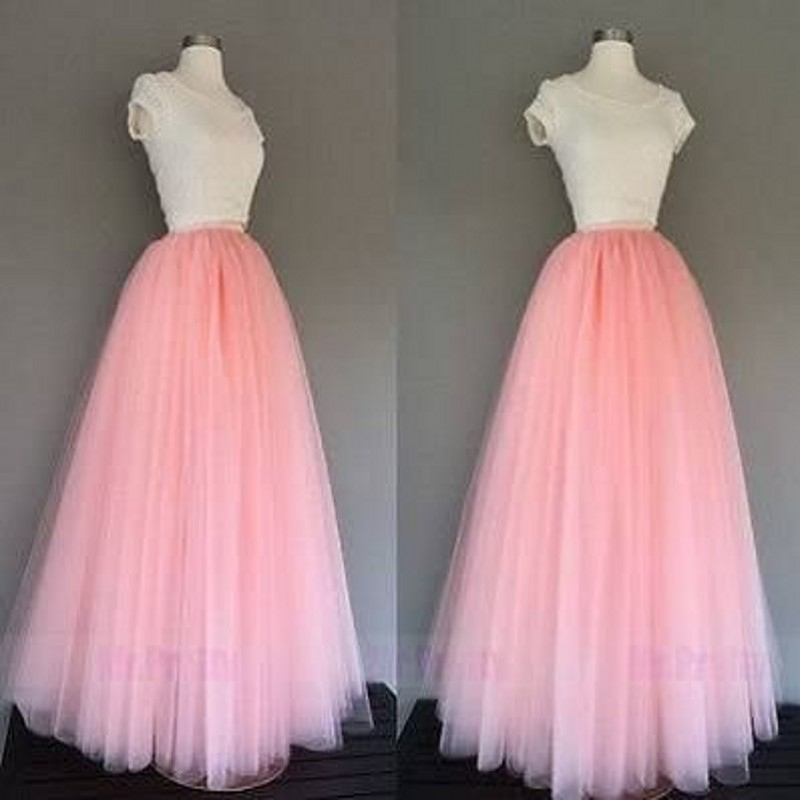 Hot Sale Long Pink Tulle Skirts Women A Line Floor Length