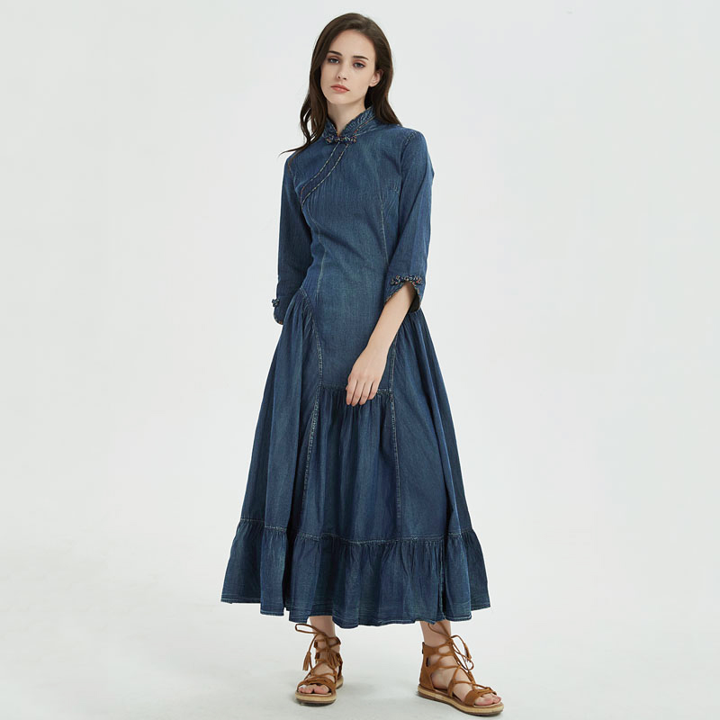 Vintage Col Mandarin Élégante YuziPeut Boho Denim Robes A5231 Robe A ligne Feminino Femmes Automne Longue Nouveau 2018 nkPX08wO