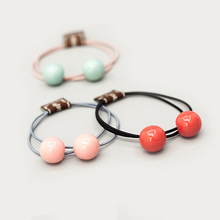 Fashion Cute Double Ball Pearl Elastic Rubber Hair Bands Hair Rope Ponytail Holder Scrunchy Rope Girl Headwear Hair Accessories buttermere ladies fur ball elastic hair bands headwear women hair accessories korean rubber hair rope ladies ponytail holder