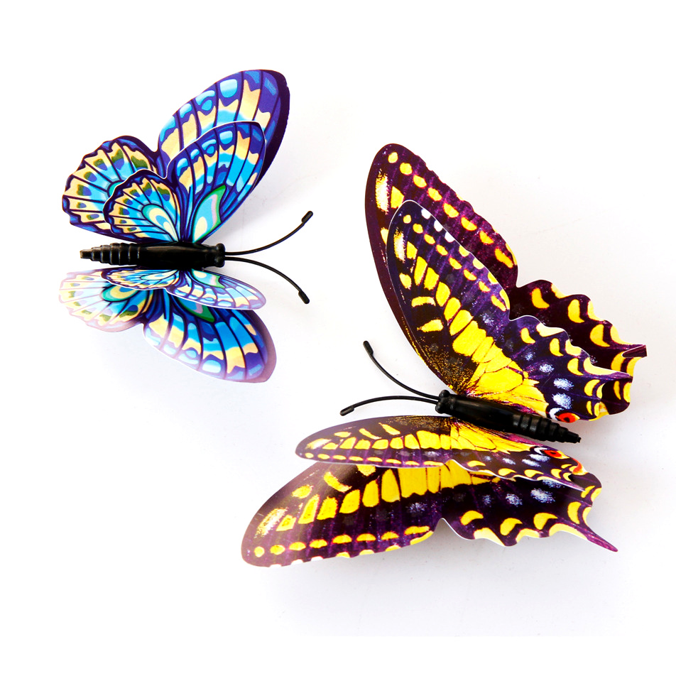 12pcs 3D Butterfly Wall Stickers Night Light Effect Mural Party Wedding decor for DIY Home Decorations Animals sticker in Wall Stickers from Home Garden