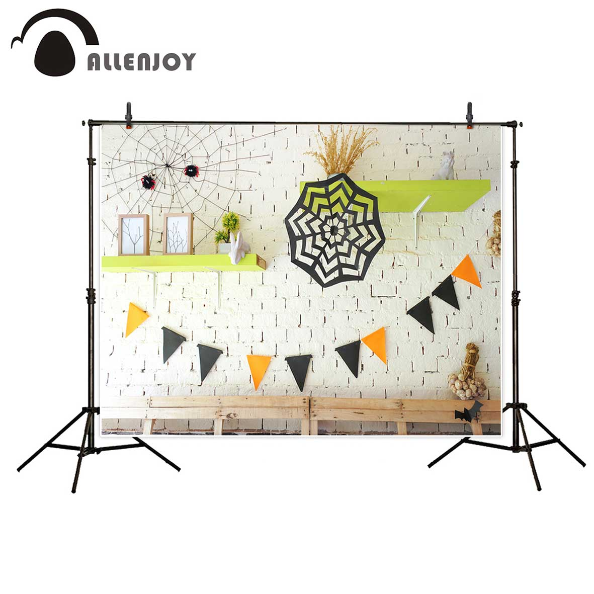 Allenjoy photography backdrop halloween flags white brick wall baby shower background photobooth fantasy props 300cm 200cm about 10ft 6 5ft fundo butterflies fluttering woods3d baby photography backdrop background lk 2024